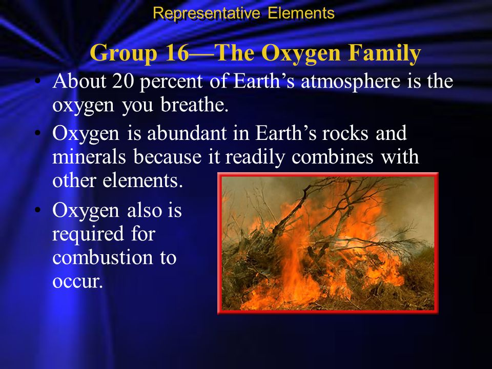 Group 16—The Oxygen Family About 20 percent of Earth's atmosphere is the oxygen you breathe. Representative Elements Oxygen also is required for combu