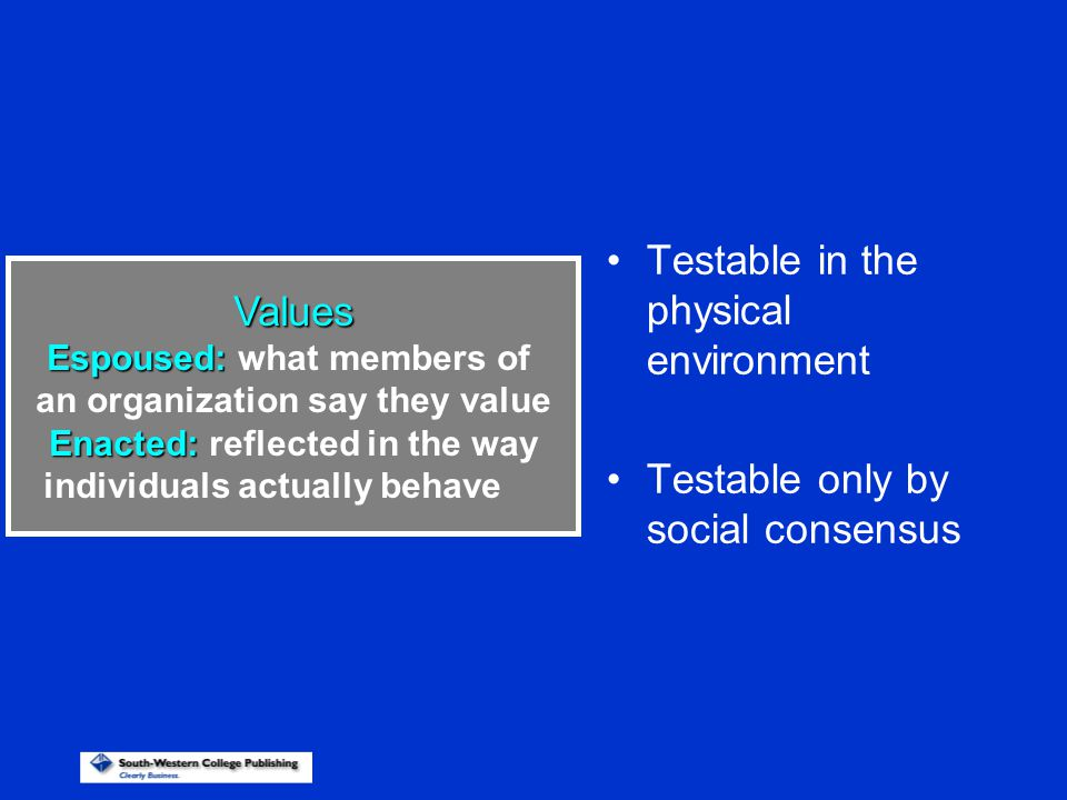 Testable in the physical environment Testable only by social consensus Values Espoused: Espoused: what members of an organization say they value Enact