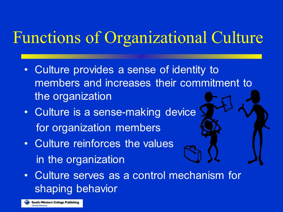 Functions of Organizational Culture Culture provides a sense of identity to members and increases their commitment to the organization Culture is a se