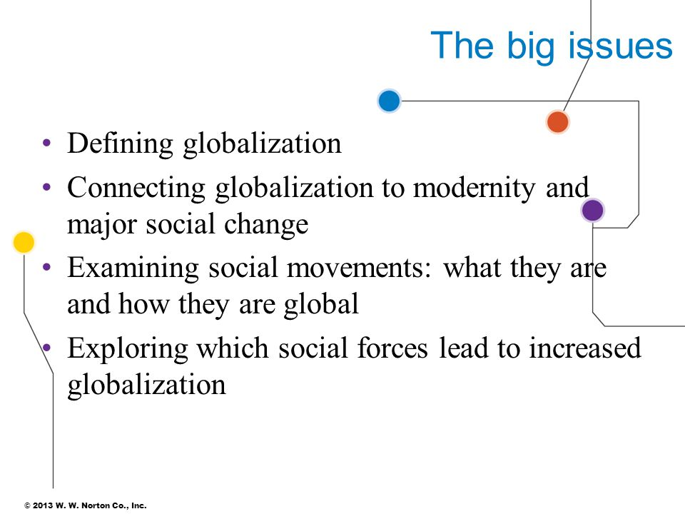 The big issues Defining globalization Connecting globalization to modernity and major social change Examining social movements: what they are and how they are global Exploring which social forces lead to increased globalization 3