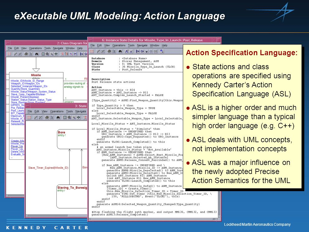 K E N N E D Y C A R T E R Lockheed Martin Aeronautics Company eXecutable UML Modeling: Action Language Action Specification Language: l State actions
