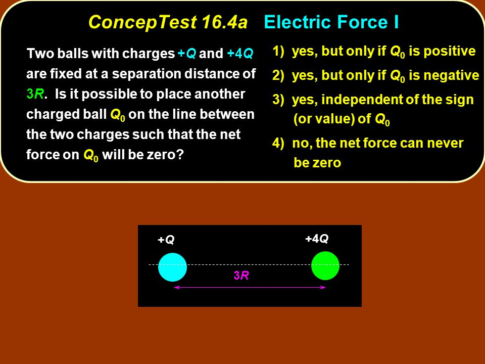 ConcepTest 16.4aElectric Force I ConcepTest 16.4a Electric Force I Q 0 is positive 1) yes, but only if Q 0 is positive Q 0 is negative 2) yes, but only if Q 0 is negative Q 0 3) yes, independent of the sign (or value) of Q 0 4) no, the net force can never be zero Two balls with charges +Q and +4Q are fixed at a separation distance of 3R.