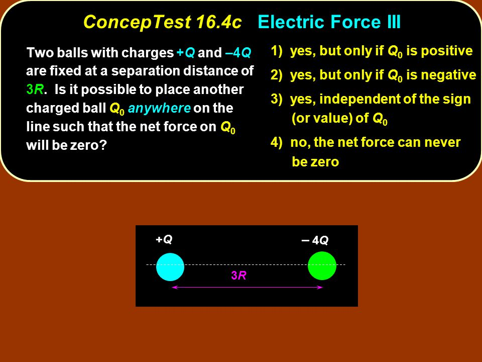 3R3R +Q+Q – – 4Q Two balls with charges +Q and –4Q are fixed at a separation distance of 3R.