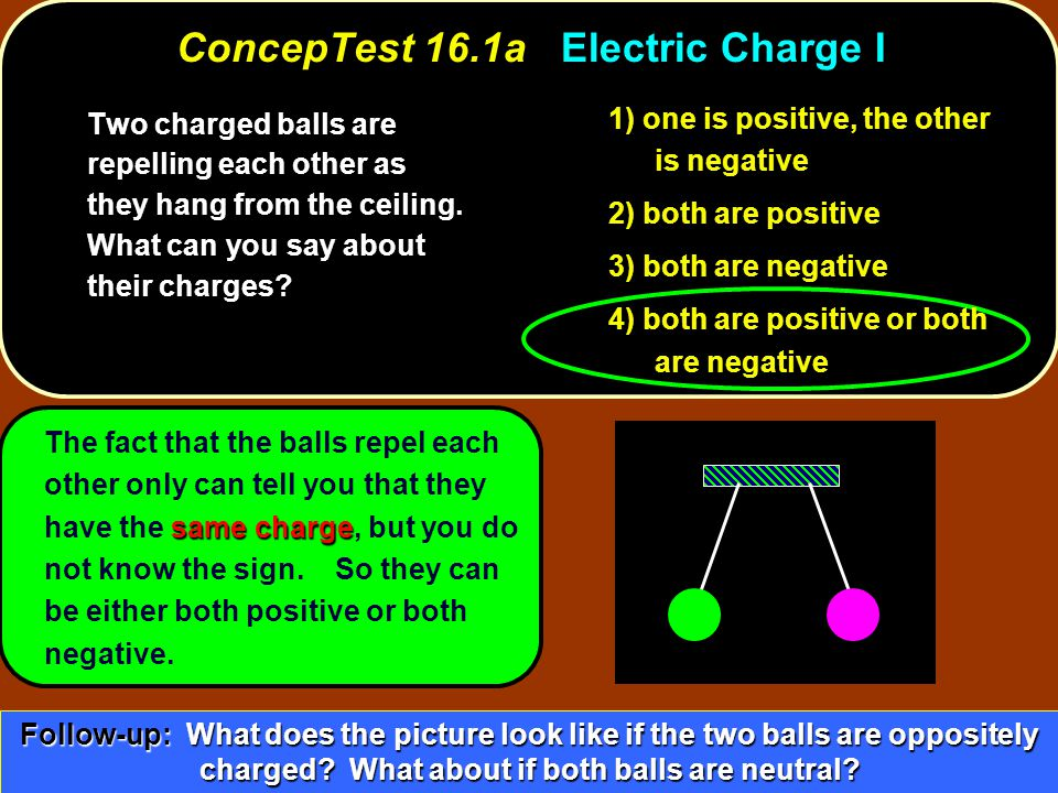 1) proton 2) electron 3) both the same p e ConcepTest 16.5bProton and Electron II ConcepTest 16.5b Proton and Electron II A proton and an electron are held apart a distance of 1 m and then released.