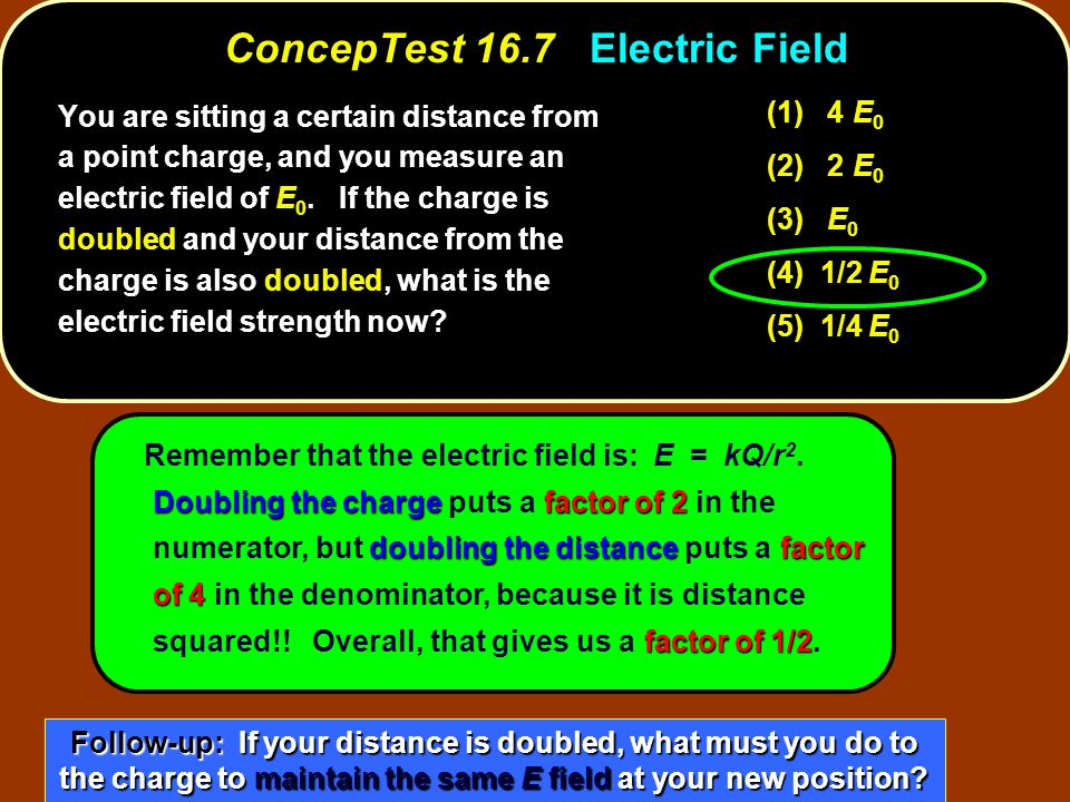Doubling the chargefactor of 2 doubling the distancefactor of 4 factor of 1/2 Remember that the electric field is: E = kQ/r 2.