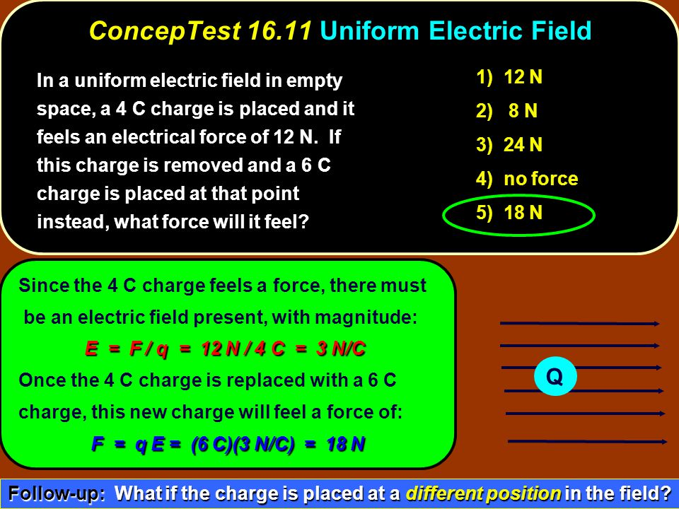 Since the 4 C charge feels a force, there must be an electric field present, with magnitude: E = F / q = 12 N / 4 C = 3 N/C Once the 4 C charge is replaced with a 6 C charge, this new charge will feel a force of: F = q E = (6 C)(3 N/C) = 18 N Q 1) 12 N 2) 8 N 3) 24 N 4) no force 5) 18 N ConcepTest 16.11Uniform Electric Field ConcepTest 16.11 Uniform Electric Field Follow-up: What if the charge is placed at a different position in the field.