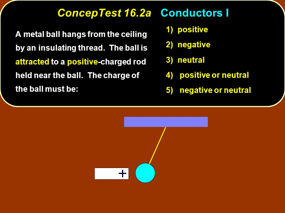 negative neutral induction Clearly, the ball will be attracted if its charge is negative.