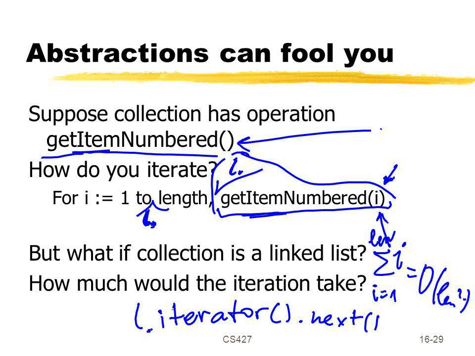 CS42716-29 Abstractions can fool you Suppose collection has operation getItemNumbered() How do you iterate.