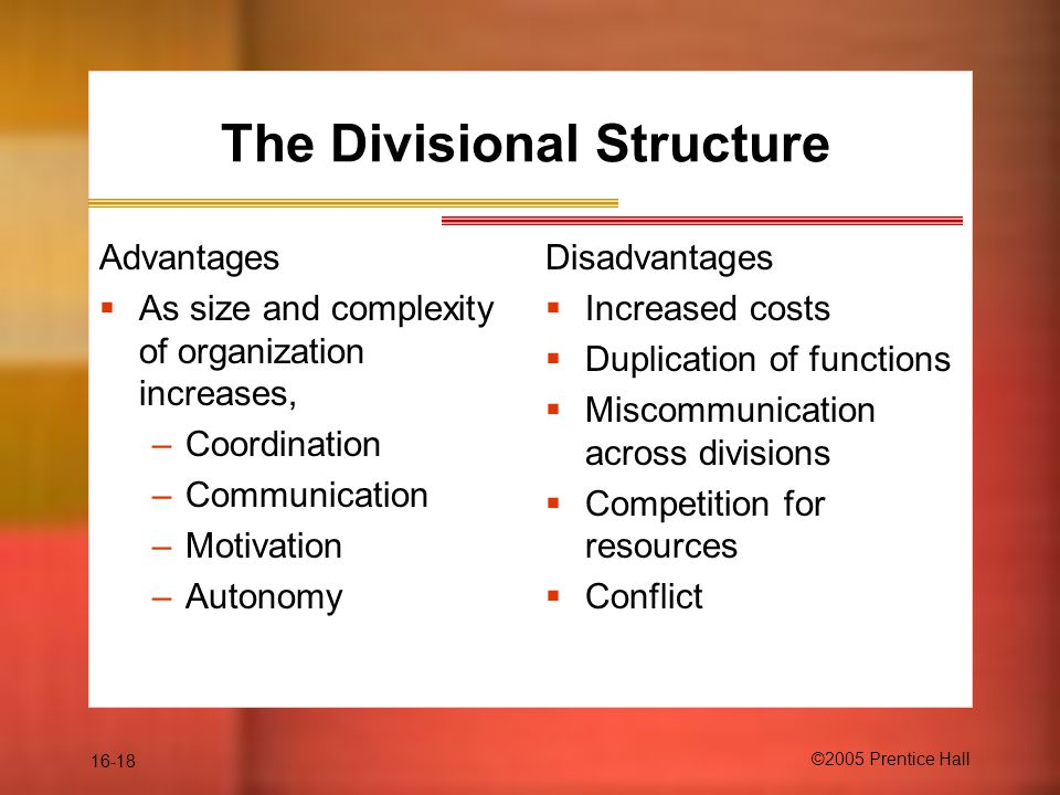 16-18 ©2005 Prentice Hall The Divisional Structure Advantages  As size and complexity of organization increases, –Coordination –Communication –Motivation –Autonomy Disadvantages  Increased costs  Duplication of functions  Miscommunication across divisions  Competition for resources  Conflict