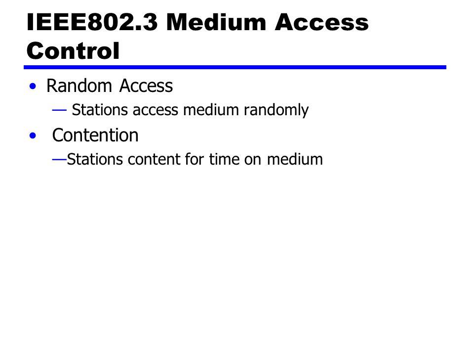IEEE802.3 Medium Access Control Random Access — Stations access medium randomly Contention —Stations content for time on medium