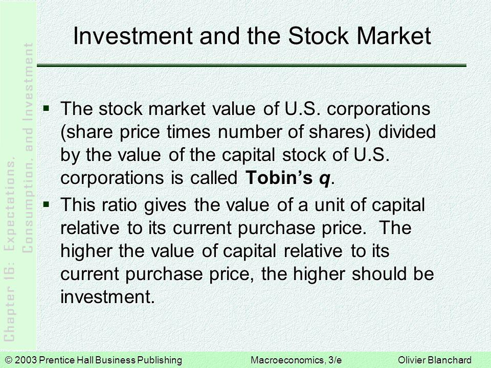 © 2003 Prentice Hall Business PublishingMacroeconomics, 3/e Olivier Blanchard Investment and the Stock Market  The stock market value of U.S.