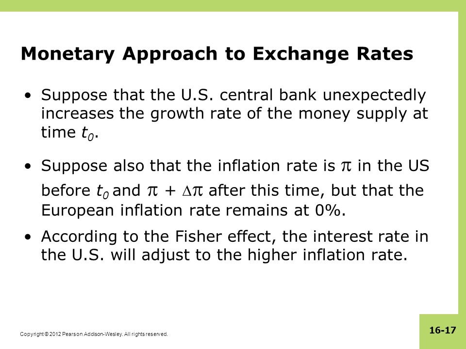 Copyright © 2012 Pearson Addison-Wesley. All rights reserved. 16-17 Monetary Approach to Exchange Rates Suppose that the U.S. central bank unexpectedl