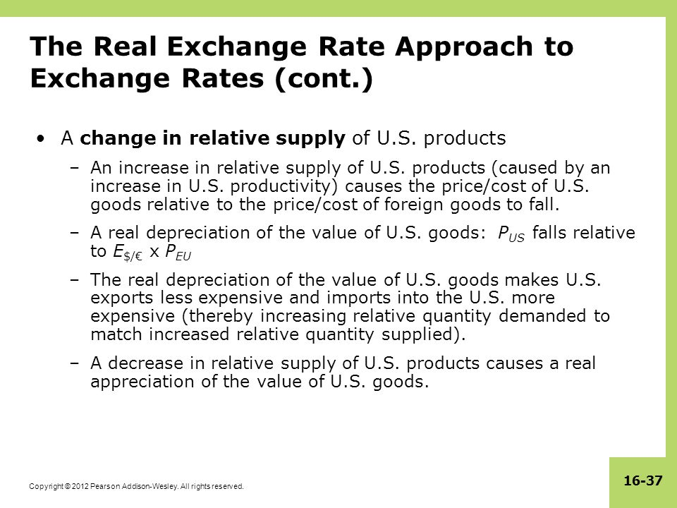 Copyright © 2012 Pearson Addison-Wesley. All rights reserved. 16-37 The Real Exchange Rate Approach to Exchange Rates (cont.) A change in relative sup