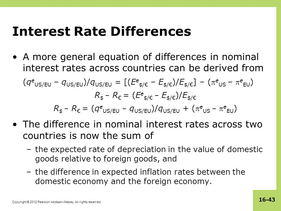 Copyright © 2012 Pearson Addison-Wesley. All rights reserved. 16-43 Interest Rate Differences A more general equation of differences in nominal intere