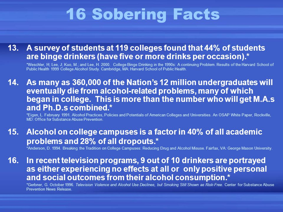 13.A survey of students at 119 colleges found that 44% of students are binge drinkers (have five or more drinks per occasion).* *Weschler, H; Lee, J; Kuo, M.; and Lee, H.