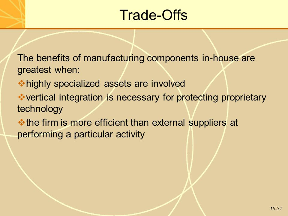 16-31 Trade-Offs The benefits of manufacturing components in-house are greatest when:  highly specialized assets are involved  vertical integration is necessary for protecting proprietary technology  the firm is more efficient than external suppliers at performing a particular activity