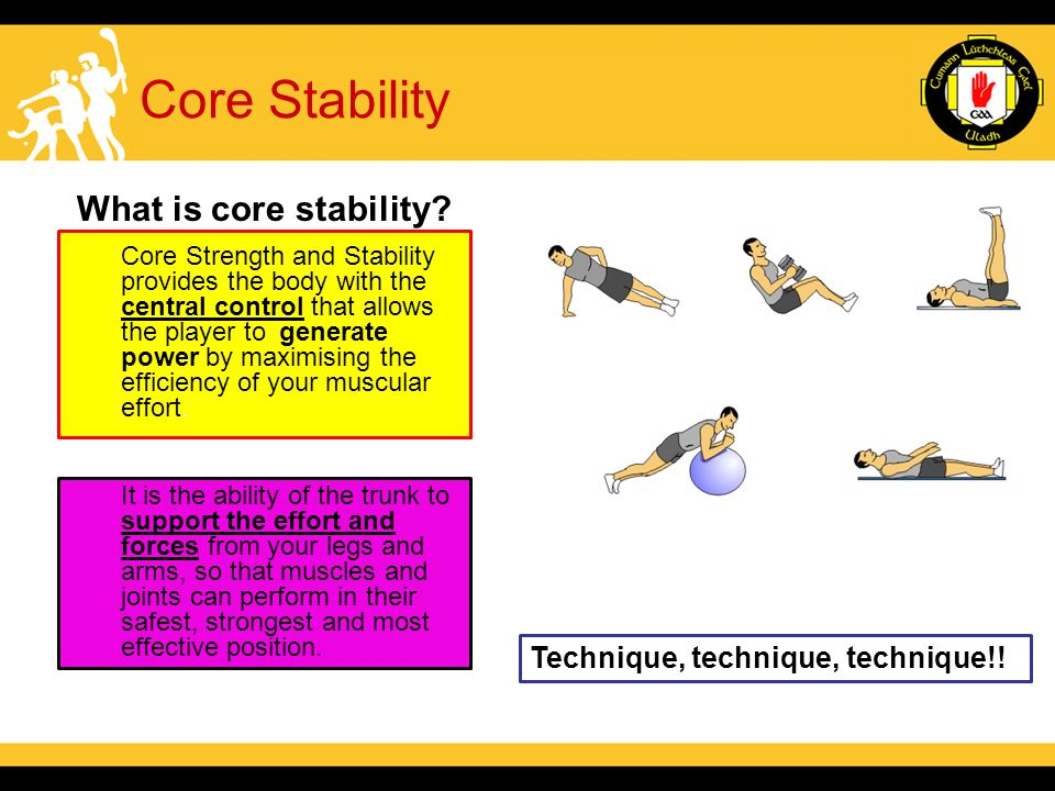 Core Stability What is core stability. Technique, technique, technique!.