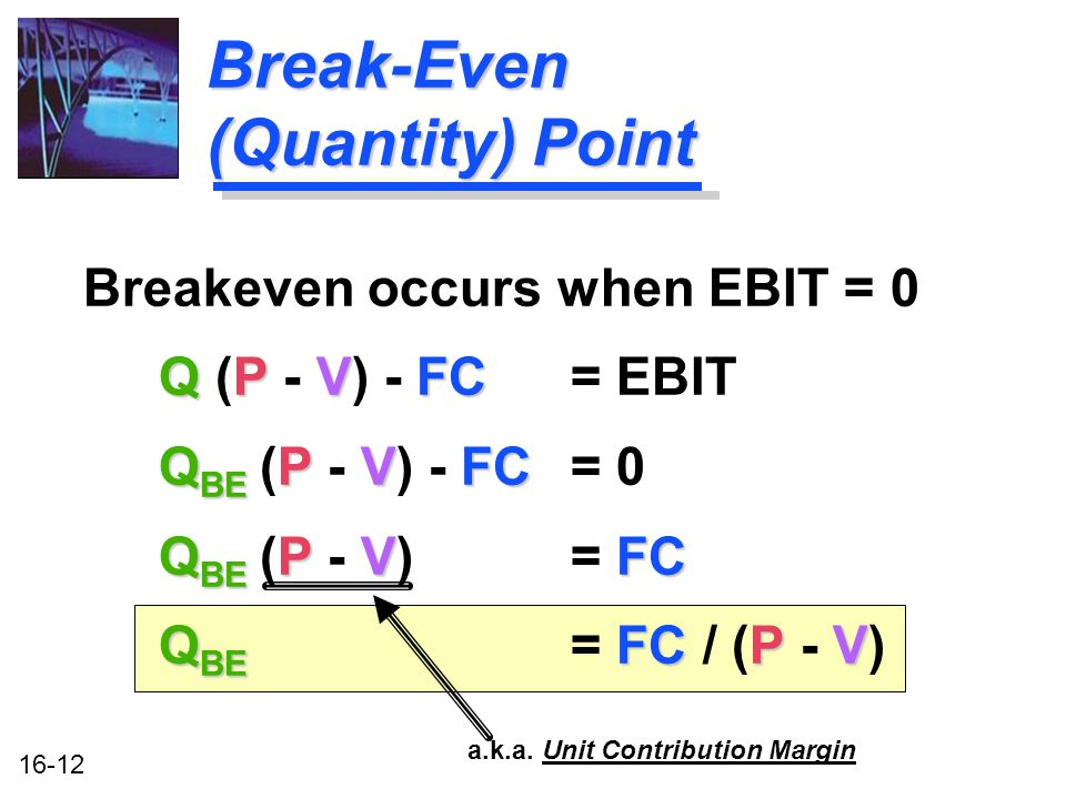 16-12 Break-Even (Quantity) Point Breakeven occurs when EBIT = 0 Q PVFC Q (P - V) - FC= EBIT Q BE PVFC Q BE (P - V) - FC = 0 Q BE PVFC Q BE (P - V) = FC Q BE FC PV Q BE = FC / (P - V) a.k.a.