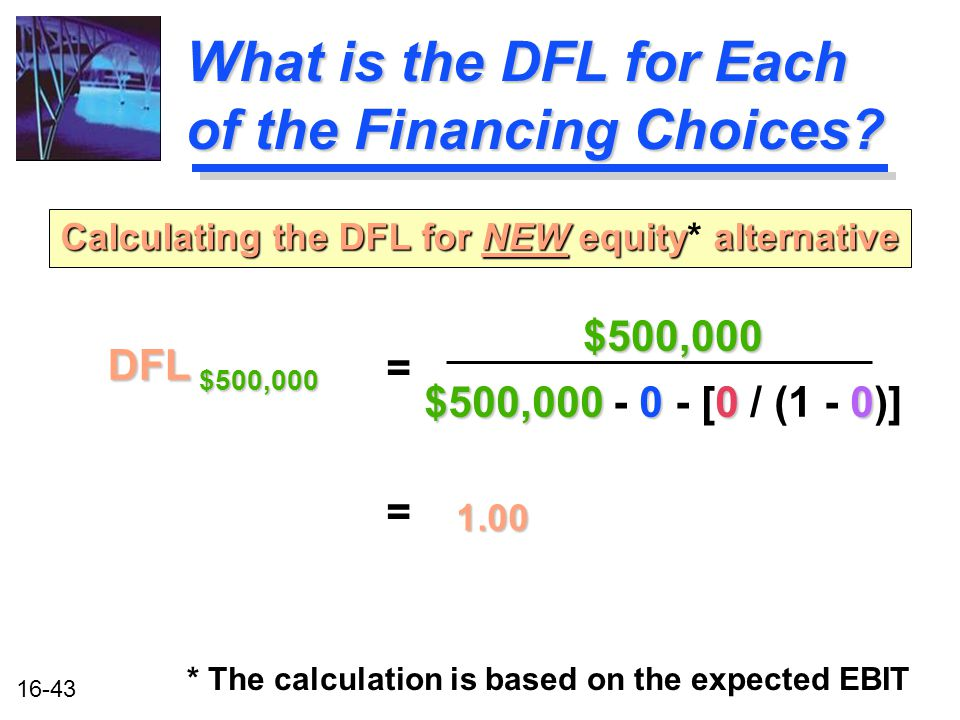 16-43 What is the DFL for Each of the Financing Choices.
