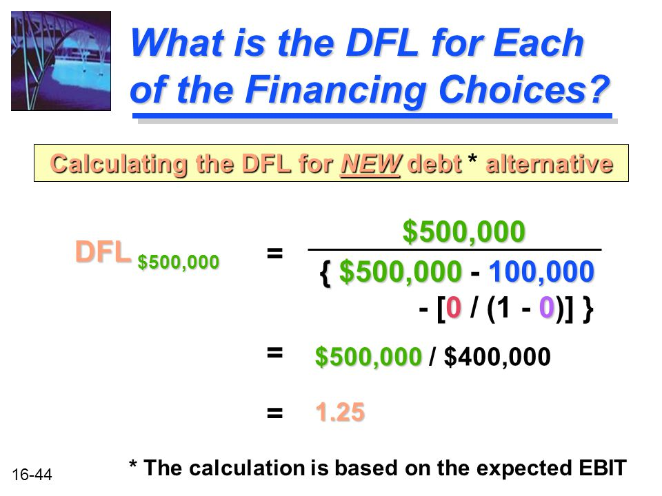 16-44 What is the DFL for Each of the Financing Choices.