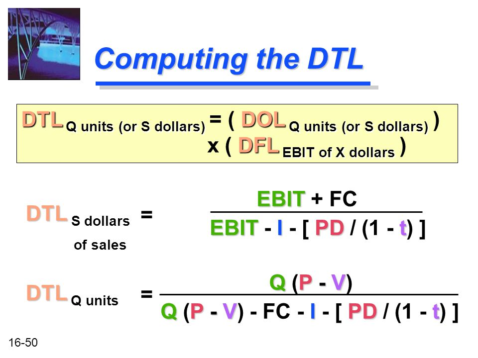 16-50 Computing the DTL DTL DTL S dollars of sales DTL Q units (or S dollars) DOL Q units (or S dollars) DFL EBIT of X dollars DTL Q units (or S dollars) = ( DOL Q units (or S dollars) ) x ( DFL EBIT of X dollars ) = EBIT EBIT + FC EBIT IPDt EBIT - I - [ PD / (1 - t) ] DTL DTL Q units QP - V Q (P - V) QP - VIPDt Q (P - V) - FC - I - [ PD / (1 - t) ] =