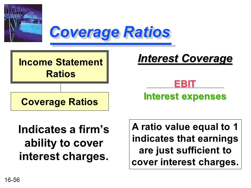 16-56 Coverage Ratios Interest Coverage EBIT Interest expenses Interest Coverage EBIT Interest expenses Indicates a firm's ability to cover interest charges.