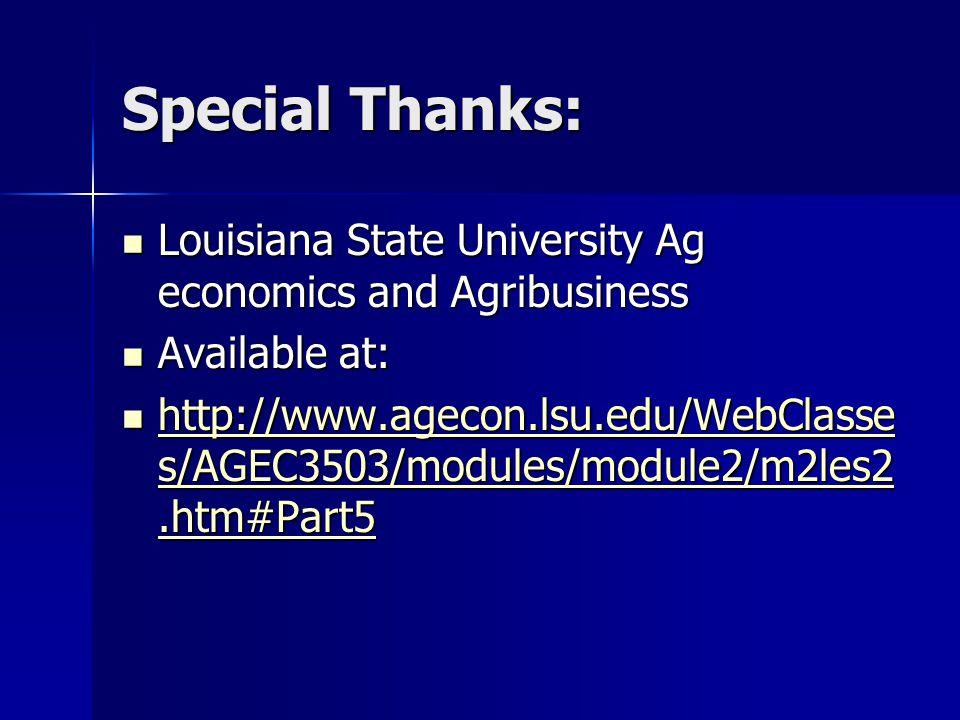 Special Thanks: Louisiana State University Ag economics and Agribusiness Louisiana State University Ag economics and Agribusiness Available at: Available at: http://www.agecon.lsu.edu/WebClasse s/AGEC3503/modules/module2/m2les2.htm#Part5 http://www.agecon.lsu.edu/WebClasse s/AGEC3503/modules/module2/m2les2.htm#Part5 http://www.agecon.lsu.edu/WebClasse s/AGEC3503/modules/module2/m2les2.htm#Part5 http://www.agecon.lsu.edu/WebClasse s/AGEC3503/modules/module2/m2les2.htm#Part5