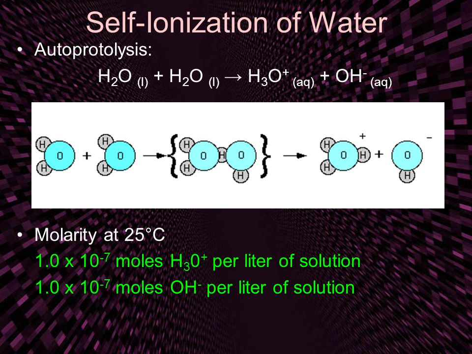 Self-Ionization of Water Autoprotolysis: H 2 O (l) + H 2 O (l) → H 3 O + (aq) + OH - (aq) Molarity at 25°C 1.0 x 10 -7 moles H 3 0 + per liter of solution 1.0 x 10 -7 moles OH - per liter of solution