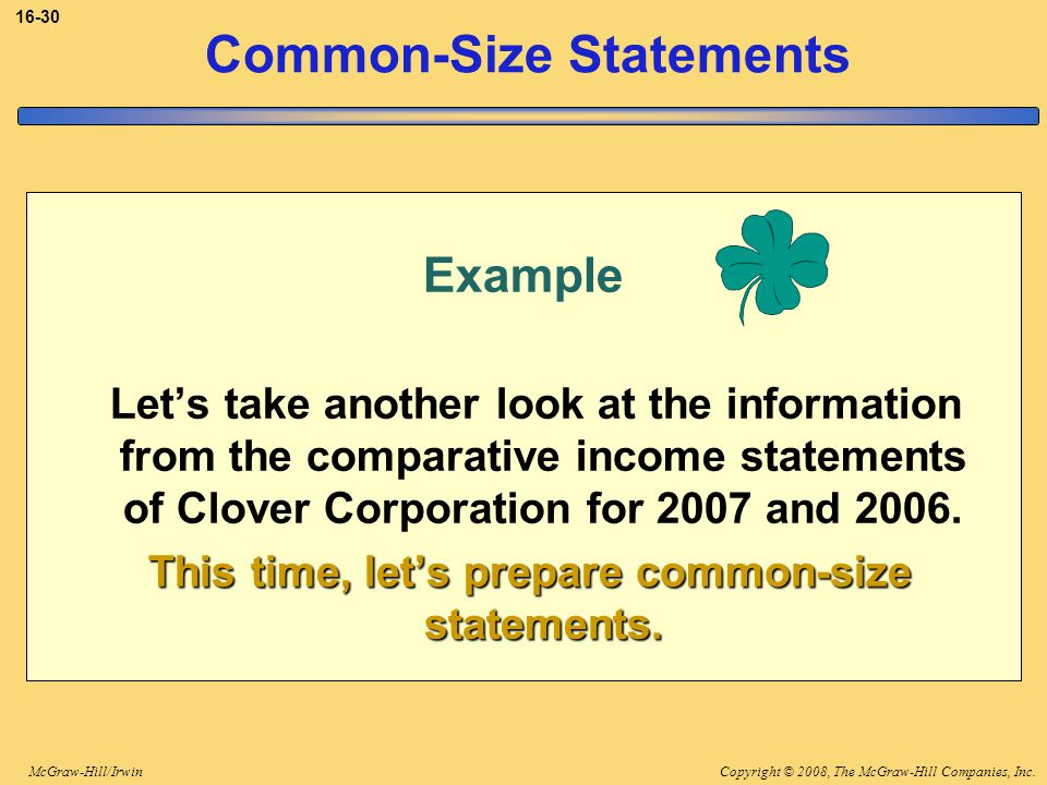 Copyright © 2008, The McGraw-Hill Companies, Inc.McGraw-Hill/Irwin 16-30 Example Let's take another look at the information from the comparative income statements of Clover Corporation for 2007 and 2006.