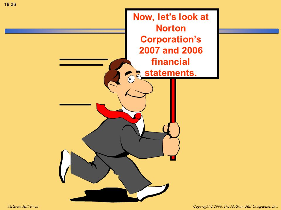 Copyright © 2008, The McGraw-Hill Companies, Inc.McGraw-Hill/Irwin 16-36 Now, let's look at Norton Corporation's 2007 and 2006 financial statements.