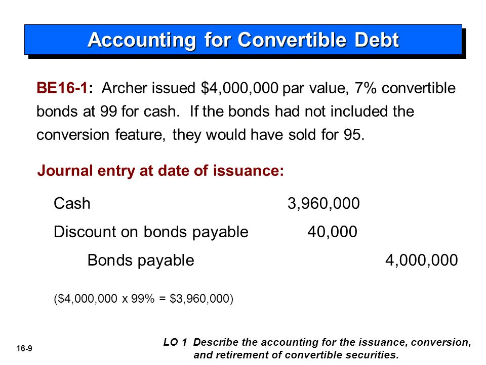 16-10 At Time of Conversion Accounting for Convertible Debt LO 1 Describe the accounting for the issuance, conversion, and retirement of convertible securities.