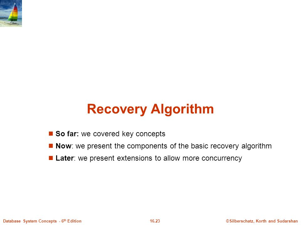 ©Silberschatz, Korth and Sudarshan16.23Database System Concepts - 6 th Edition Recovery Algorithm So far: we covered key concepts Now: we present the components of the basic recovery algorithm Later: we present extensions to allow more concurrency