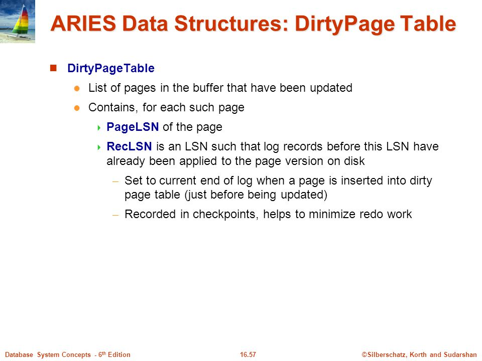 ©Silberschatz, Korth and Sudarshan16.57Database System Concepts - 6 th Edition ARIES Data Structures: DirtyPage Table DirtyPageTable List of pages in the buffer that have been updated Contains, for each such page  PageLSN of the page  RecLSN is an LSN such that log records before this LSN have already been applied to the page version on disk – Set to current end of log when a page is inserted into dirty page table (just before being updated) – Recorded in checkpoints, helps to minimize redo work