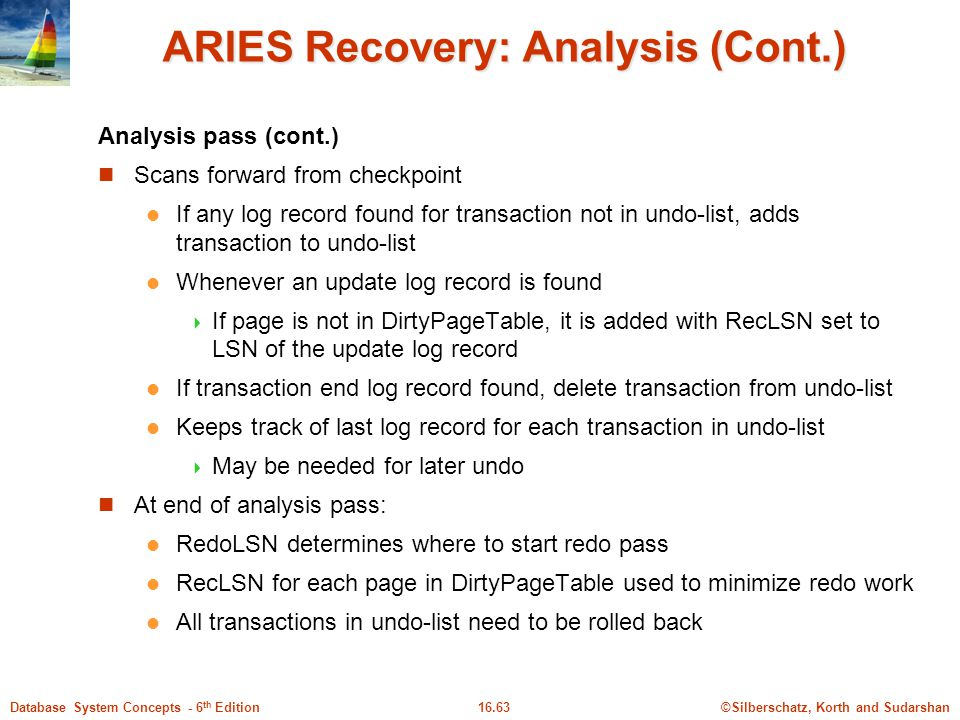 ©Silberschatz, Korth and Sudarshan16.63Database System Concepts - 6 th Edition ARIES Recovery: Analysis (Cont.) Analysis pass (cont.) Scans forward from checkpoint If any log record found for transaction not in undo-list, adds transaction to undo-list Whenever an update log record is found  If page is not in DirtyPageTable, it is added with RecLSN set to LSN of the update log record If transaction end log record found, delete transaction from undo-list Keeps track of last log record for each transaction in undo-list  May be needed for later undo At end of analysis pass: RedoLSN determines where to start redo pass RecLSN for each page in DirtyPageTable used to minimize redo work All transactions in undo-list need to be rolled back