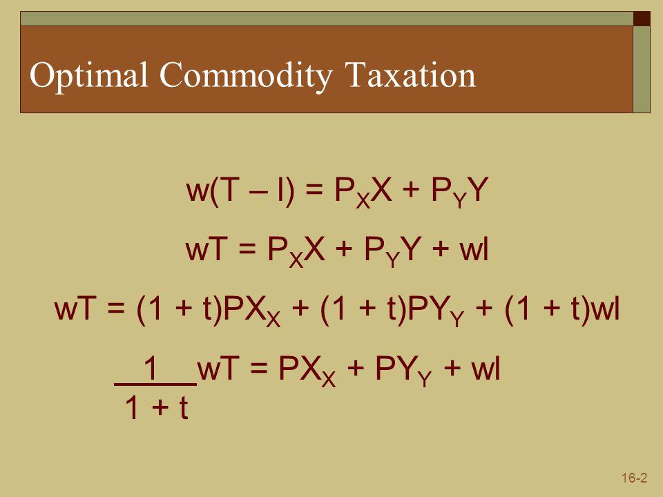 16-2 Optimal Commodity Taxation w(T – l) = P X X + P Y Y wT = P X X + P Y Y + wl wT = (1 + t)PX X + (1 + t)PY Y + (1 + t)wl 1 wT = PX X + PY Y + wl 1