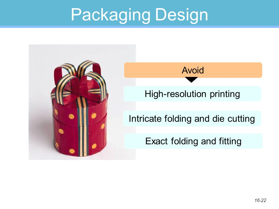 16-22 Packaging Design High-resolution printing Intricate folding and die cutting Exact folding and fitting Avoid