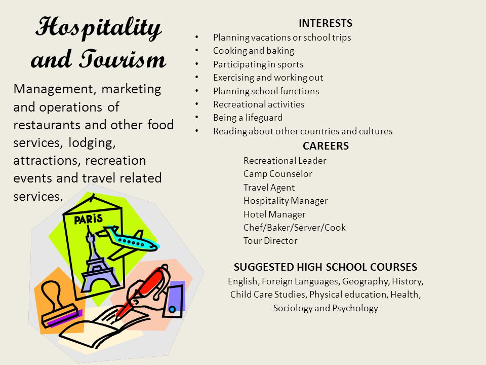Hospitality and Tourism INTERESTS Planning vacations or school trips Cooking and baking Participating in sports Exercising and working out Planning school functions Recreational activities Being a lifeguard Reading about other countries and cultures CAREERS Recreational Leader Camp Counselor Travel Agent Hospitality Manager Hotel Manager Chef/Baker/Server/Cook Tour Director SUGGESTED HIGH SCHOOL COURSES English, Foreign Languages, Geography, History, Child Care Studies, Physical education, Health, Sociology and Psychology Management, marketing and operations of restaurants and other food services, lodging, attractions, recreation events and travel related services.