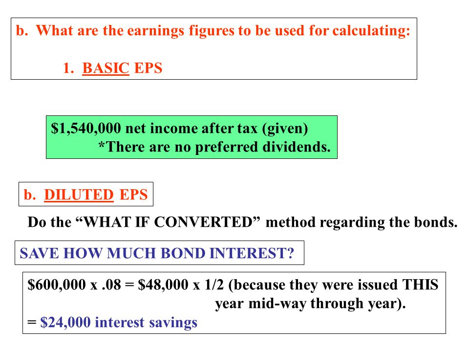 a2. What no. of shares should be used for DILUTED EPS? Begin the same way: Jan 1 - Apr 1800,000 sh x 3/12 = 200,000 On 7/1 sell 8% convertible bonds $