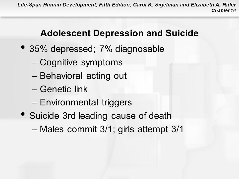 Life-Span Human Development, Fifth Edition, Carol K. Sigelman and Elizabeth A. Rider Chapter 16 Adolescent Depression and Suicide 35% depressed; 7% di