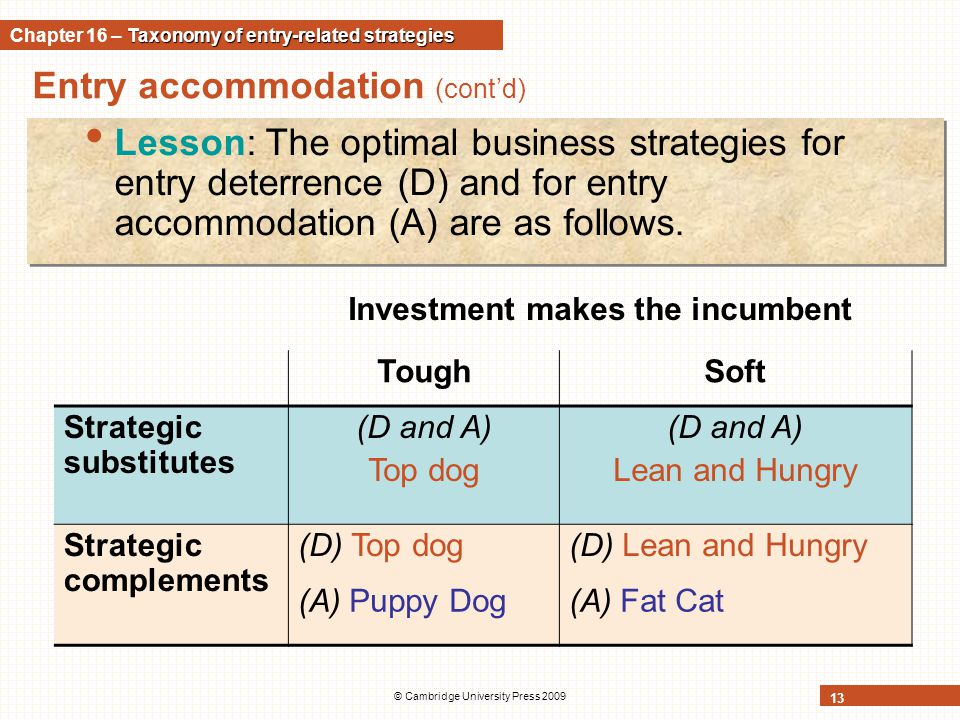Entry accommodation (cont'd) © Cambridge University Press 2009 13 Lesson: The optimal business strategies for entry deterrence (D) and for entry accom