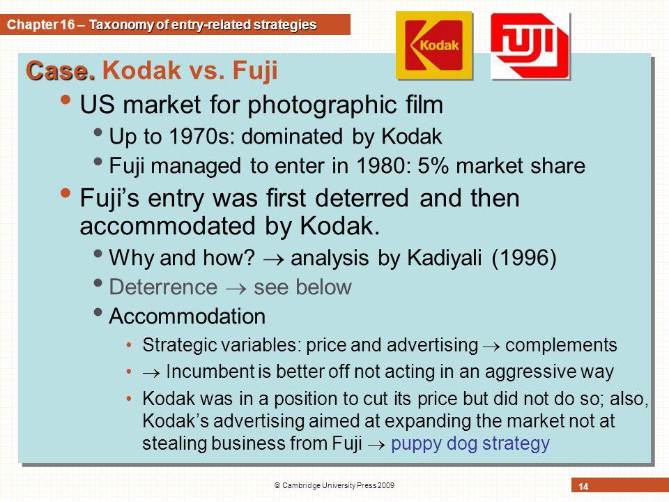 © Cambridge University Press 2009 14 Case. Case. Kodak vs. Fuji US market for photographic film Up to 1970s: dominated by Kodak Fuji managed to enter