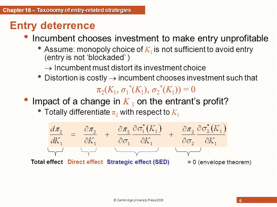 Entry deterrence Incumbent chooses investment to make entry unprofitable Assume: monopoly choice of K 1 is not sufficient to avoid entry (entry is not