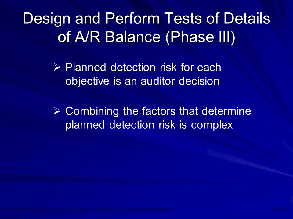 ©2010 Prentice Hall Business Publishing, Auditing 13/e, Arens//Elder/Beasley 16 - 15 Design and Perform Tests of Details of A/R Balance (Phase III)  Planned detection risk for each objective is an auditor decision  Combining the factors that determine planned detection risk is complex