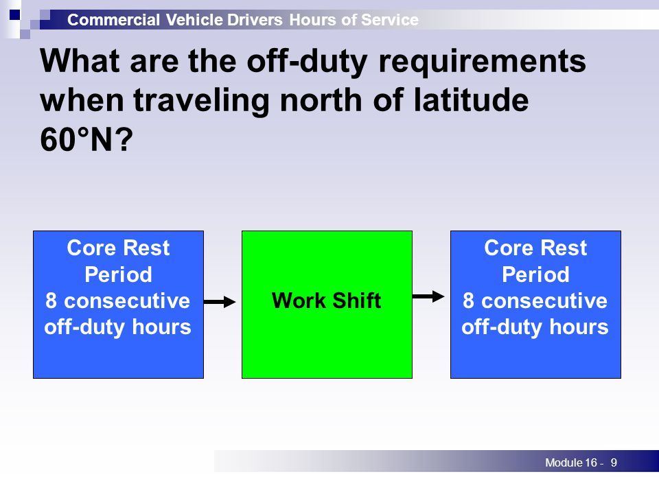 Commercial Vehicle Drivers Hours of Service Module 16 -9 What are the off-duty requirements when traveling north of latitude 60°N.