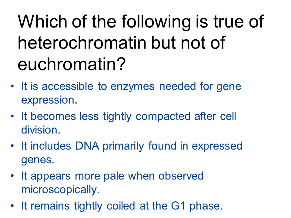 Which of the following is true of heterochromatin but not of euchromatin? It is accessible to enzymes needed for gene expression. It becomes less tigh