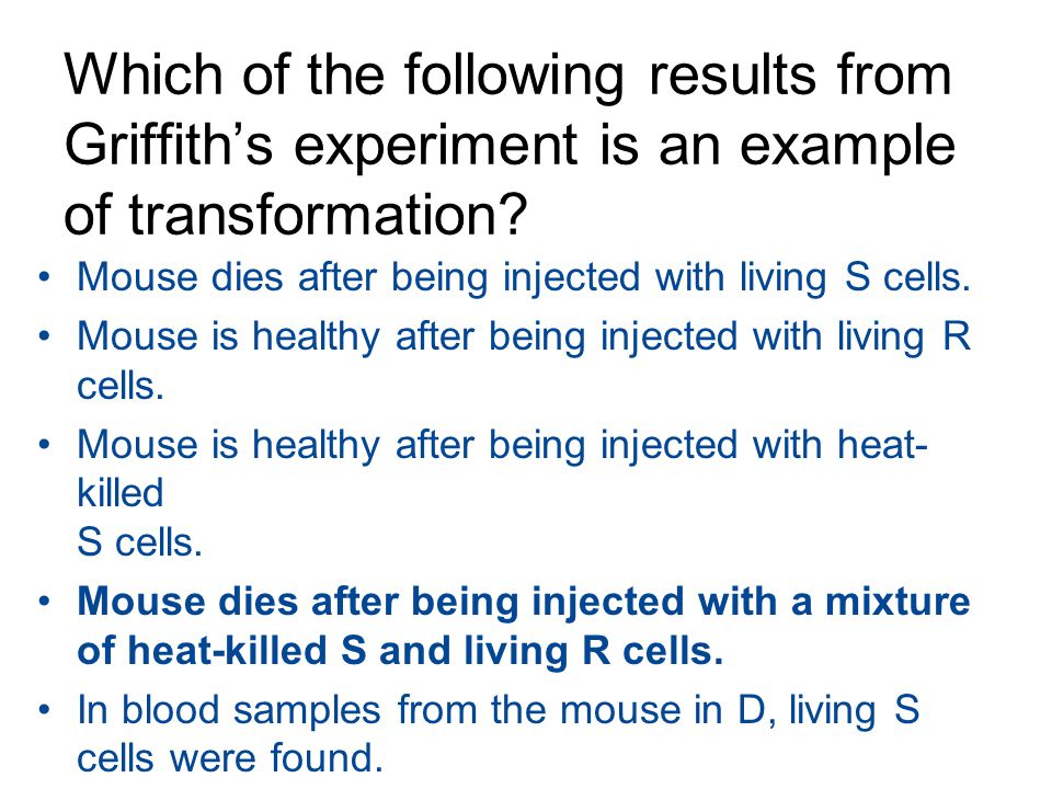 Which of the following results from Griffith's experiment is an example of transformation? Mouse dies after being injected with living S cells. Mouse
