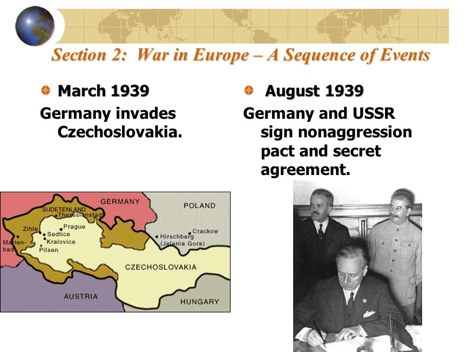 Section 2: War in Europe – A Sequence of Events ?What did Germany and the USSR agree to in their accords.