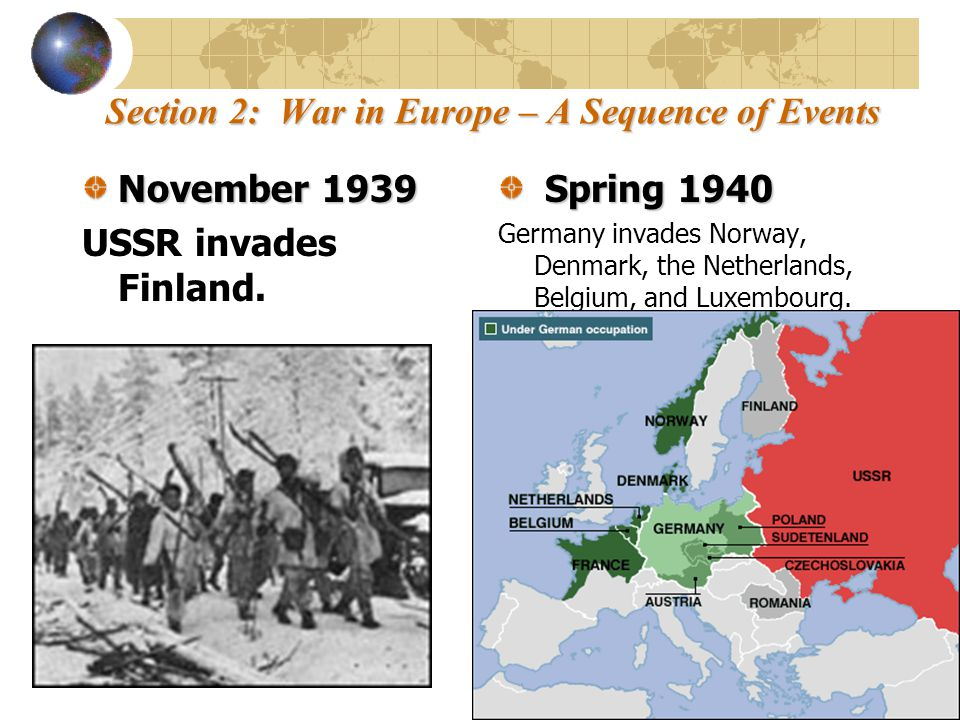 Section 2: War in Europe – A Sequence of Events June 1940 June 1940 France surrenders to Germany.