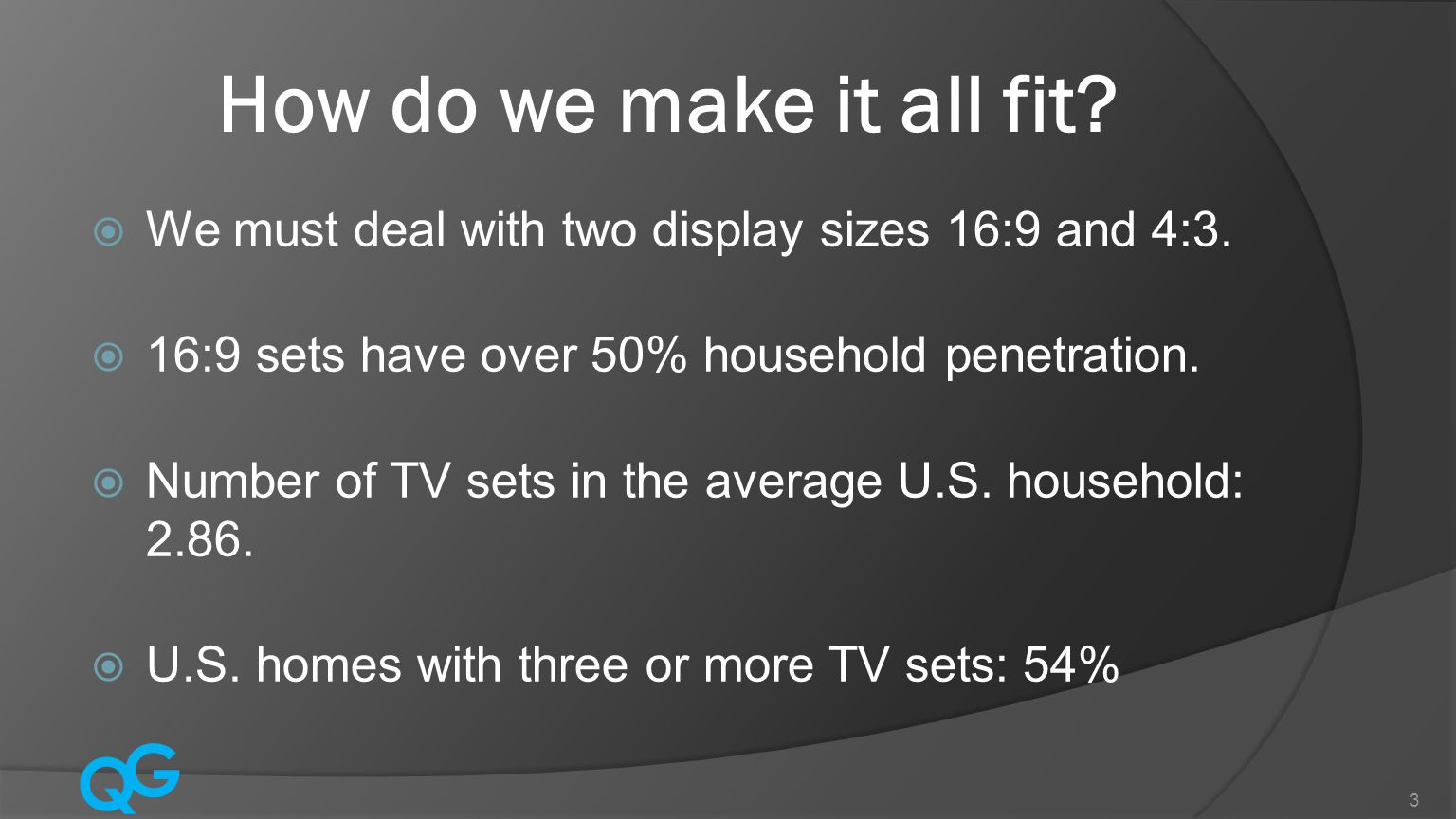 Q G 3 How do we make it all fit. We must deal with two display sizes 16:9 and 4:3.