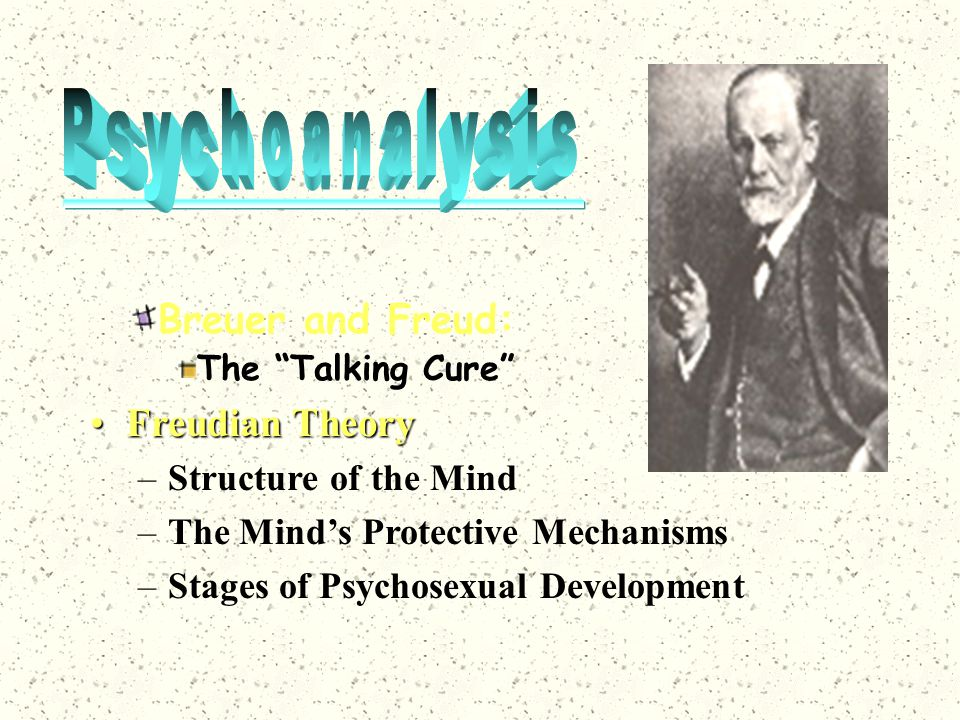 """Breuer and Freud: The """"Talking Cure"""" Freudian TheoryFreudian Theory –Structure of the Mind –The Mind's Protective Mechanisms –Stages of Psychosexual D"""